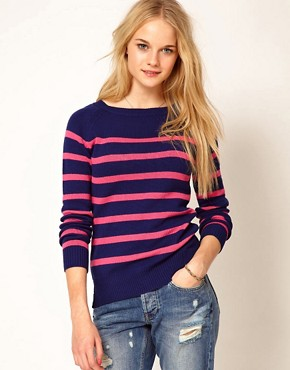Image 1 ofA Wear Stripe Jumper With Tie Neck