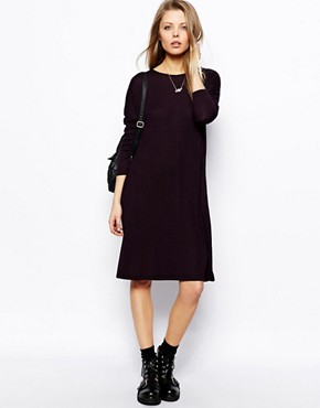 ASOS T-shirt Dress In Nepi With Long Sleeves - Purple