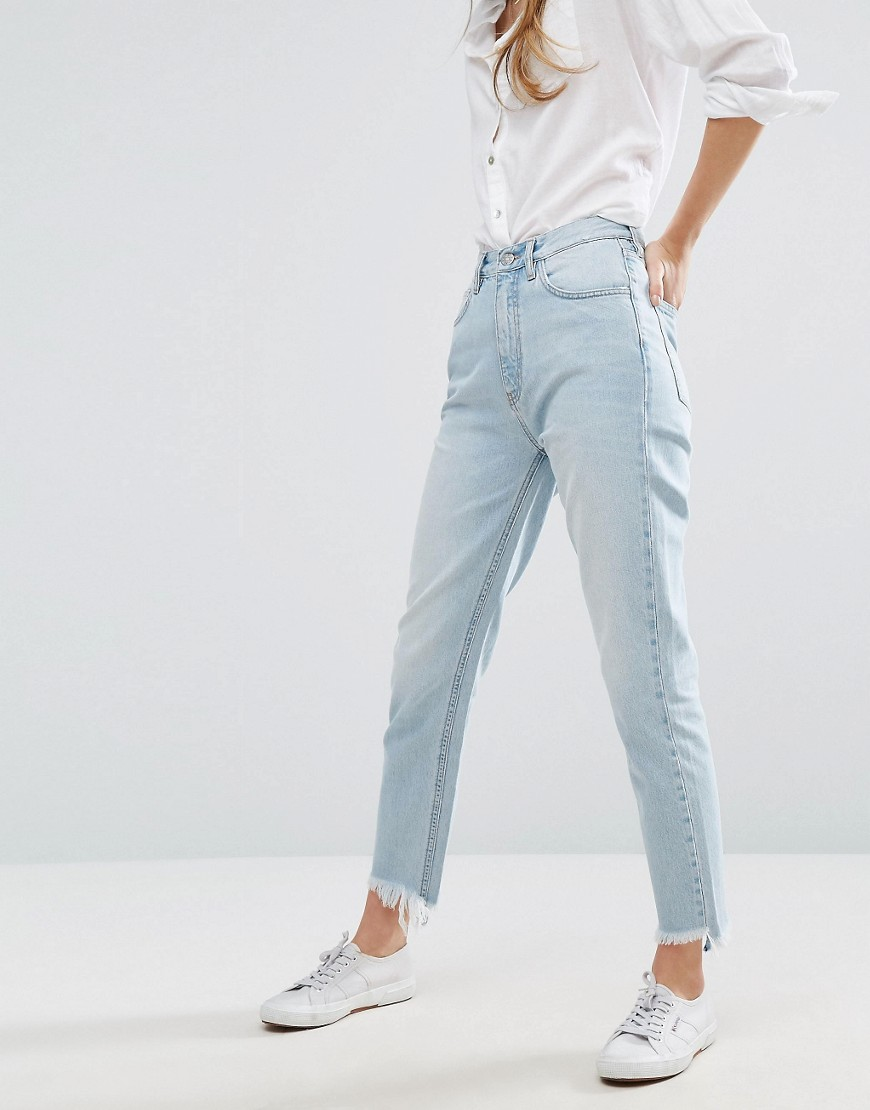 M.i.h Jeans Mimi Mom Jeans with Destroyed Hem - Cat bird blue