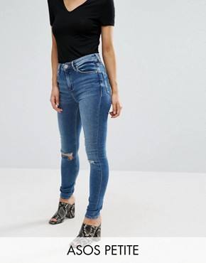 ASOS PETITE Ridley Skinny Jeans in Darmera Mid Stone Wash with Busted Knees