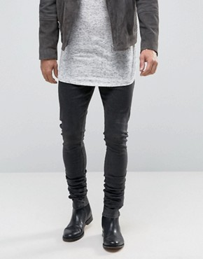 ASOS Skinny Longline Stacker Jeans With Spray Coating