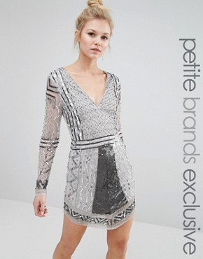 Maya Petite Long Sleeve Plunge Front Heavily Embellished Mini Dress
