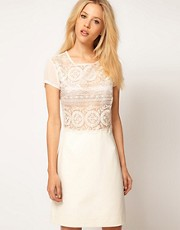 Mango Crochet Panel Body Con Dress