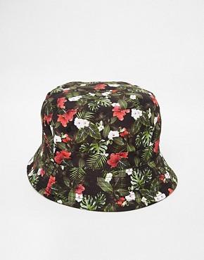 ASOS Bucket Hat In Black Floral