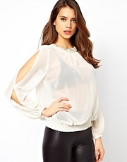 Lipsy Blouse with Pearl Necklace