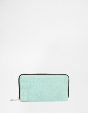 ASOS Suede Embossed Croc Zip Purse