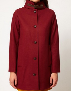 Image 3 ofSessun Sissi Wool Coat with Leather Tab Detail