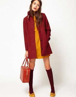 Image 4 ofSessun Sissi Wool Coat with Leather Tab Detail