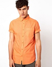 River Island Short Sleeved Oxford Shirt in Orange
