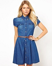 Oasis Short Sleeve Belted Denim Skater Dress