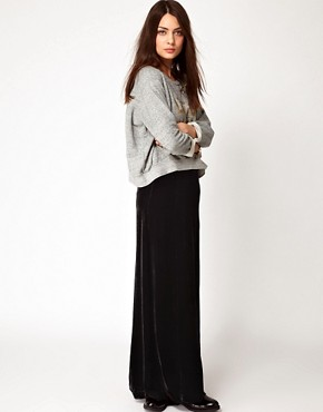 Image 1 ofGanni Silk Velvet Maxi Skirt