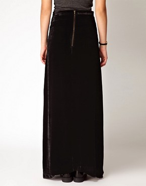 Image 2 ofGanni Silk Velvet Maxi Skirt