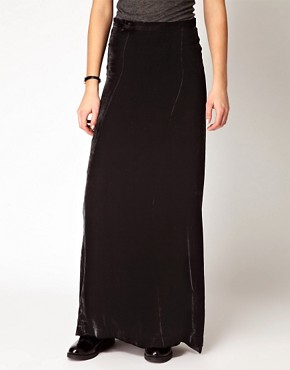 Image 4 ofGanni Silk Velvet Maxi Skirt