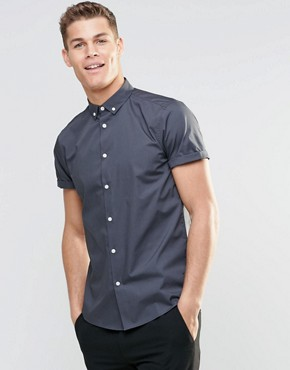 ASOS Smart Shirt In Grey With Button Down Collar And Short Sleeves