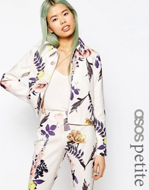 ASOS PETITE Textured Large Floral Blazer Co-ord