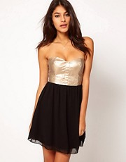 Rare Metallic Leather Look Bustier Dress