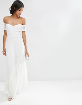 ASOS Lace Top Bardot Pleated Maxi Dress