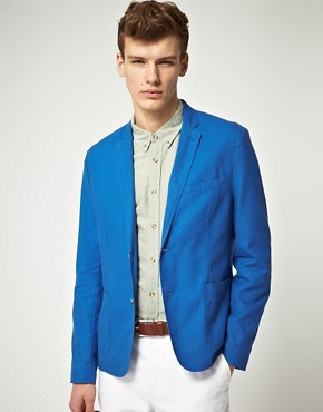 ASOS Slim Fit Suit Jacket in Chambray