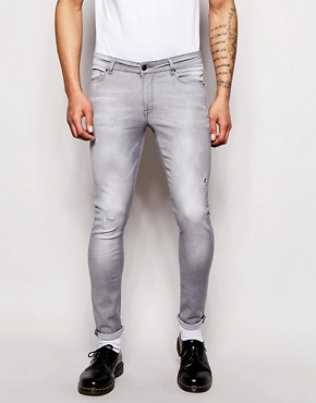 ASOS Extreme Super Skinny Jeans In Jersey With Rip and Repair