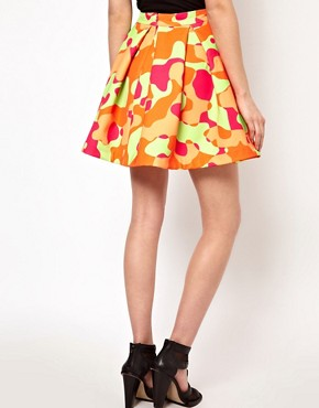 Image 2 ofAqua Riri Structured Skater Skirt In Large Camo Print