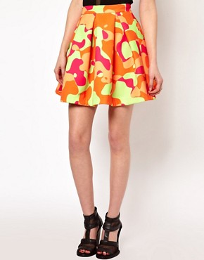 Image 4 ofAqua Riri Structured Skater Skirt In Large Camo Print
