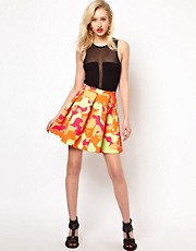 Aqua Riri Structured Skater Skirt In Large Camo Print