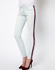 Iro Bleached Denim Skinny Jeans with Aztec Trim