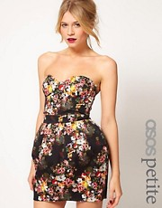 ASOS PETITE Exclusive Strapless Corset Dress In Floral Print