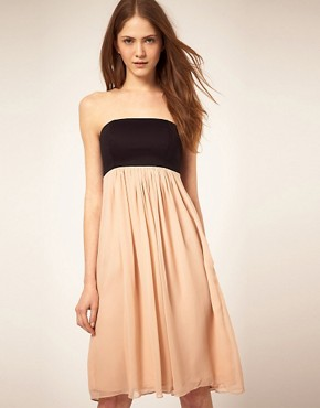 Image 1 of French Connection Bandeau Dress With Silk Skirt