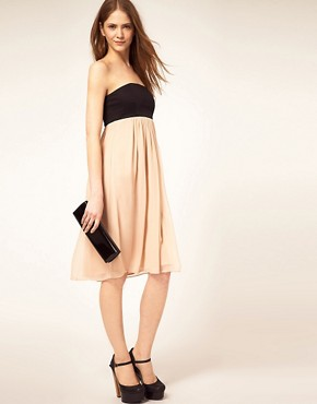 Image 4 of French Connection Bandeau Dress With Silk Skirt