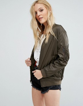 Denim & Supply By Ralph Lauren Longline Bomber Jacket With Contrast Lining