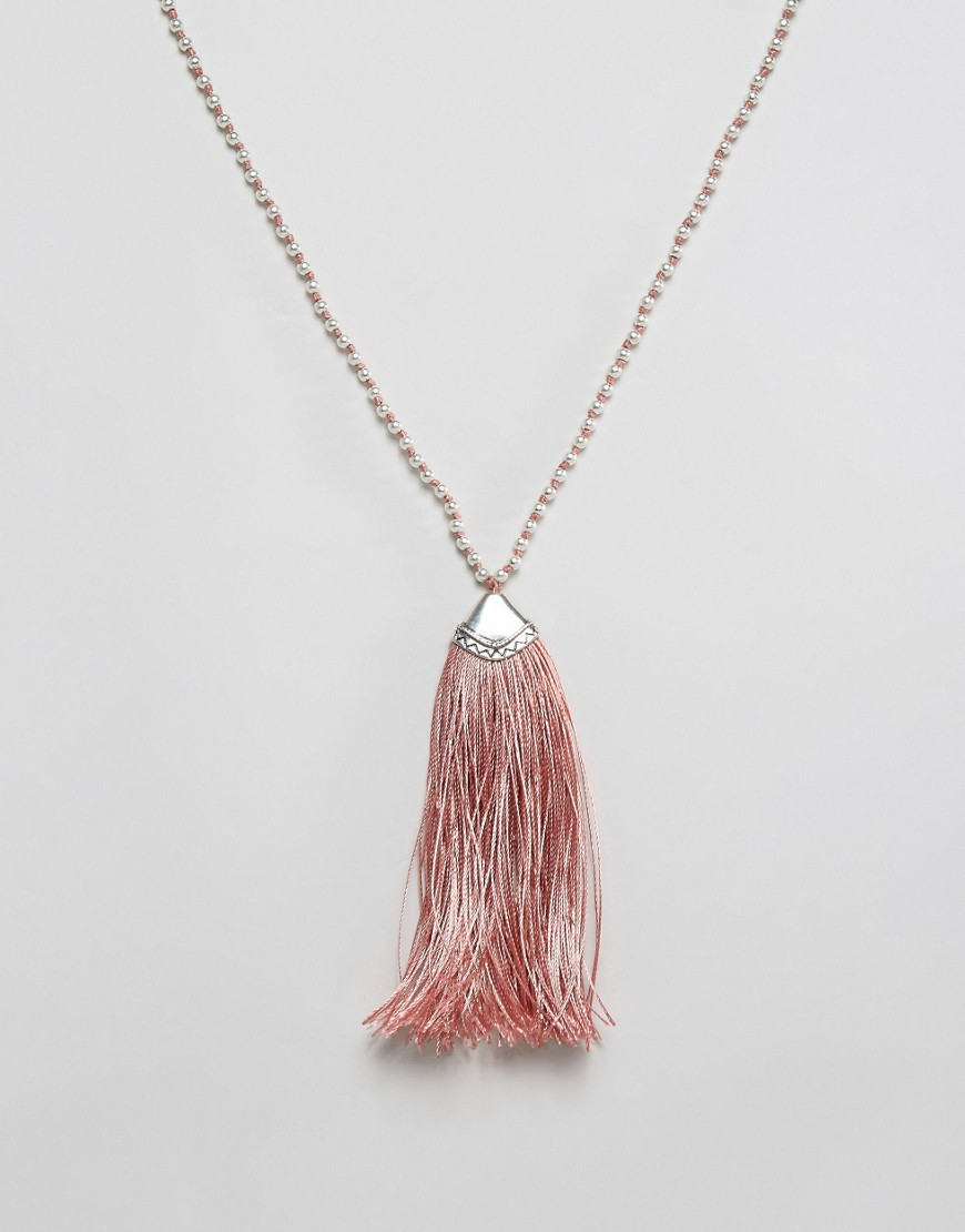 Nylon Festival Tassel Necklace - Pink