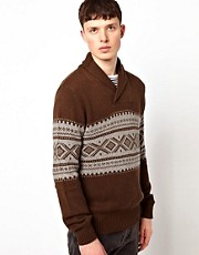 Ben Sherman Fairisle Shawl Collar Knit