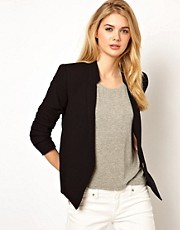 Mango Stand Collar Blazer