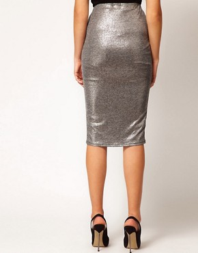 Image 2 ofRiver Island Metallic Silver Pencil Skirt
