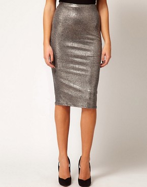 Image 4 ofRiver Island Metallic Silver Pencil Skirt