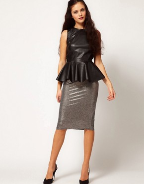 Image 1 ofRiver Island Metallic Silver Pencil Skirt