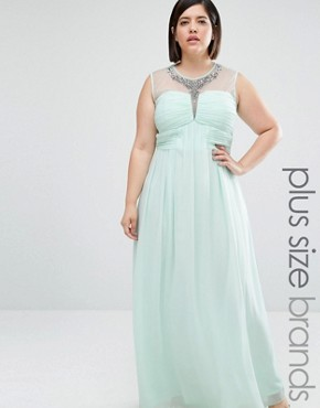 Little Mistress Plus Drape Front Maxi Dress With Embellishment