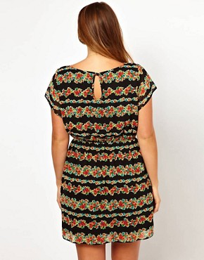 Image 2 ofASOS CURVE Exclusive Skater Dress In Stripe Floral