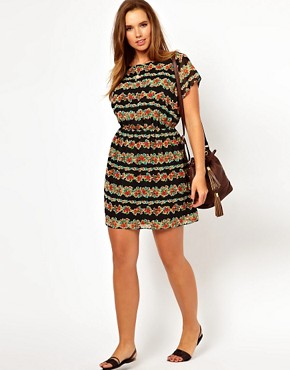 Image 4 ofASOS CURVE Exclusive Skater Dress In Stripe Floral