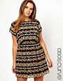 Image 1 ofASOS CURVE Exclusive Skater Dress In Stripe Floral