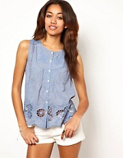 River Island Chambray Cutwork Shirt