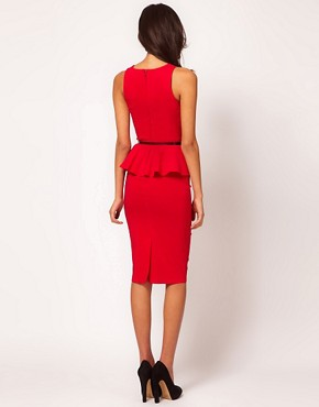 Image 2 ofASOS Peplum Dress With Bow Belt