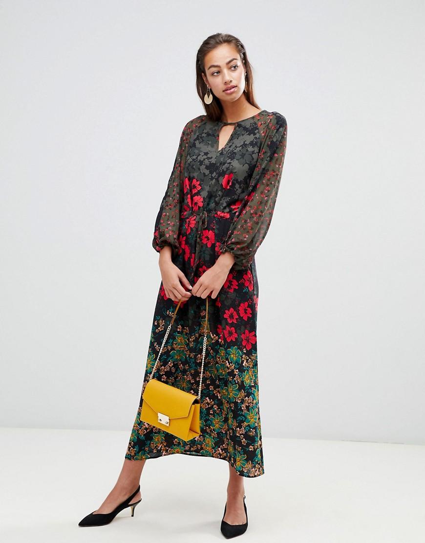 Платье макси с цветочным принтом Sisley - Мульти