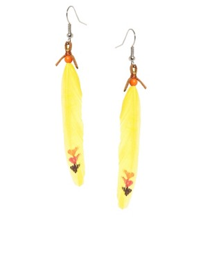 Image 1 ofASOS Mini Feather Drop Earrings