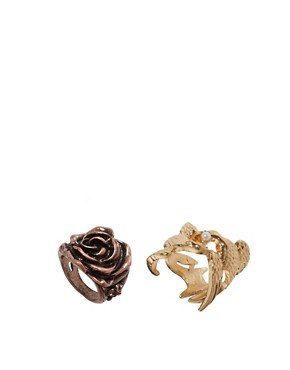 Image 1 ofASOS Flower &amp; Bird Multifinger Rings