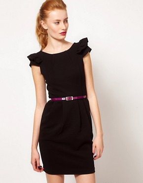 Image 1 ofWarehouse Pleat Dress With Contrast Belt
