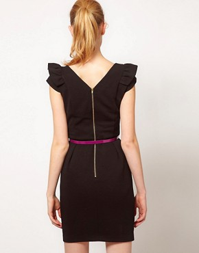 Image 2 ofWarehouse Pleat Dress With Contrast Belt