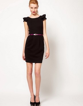 Image 4 ofWarehouse Pleat Dress With Contrast Belt