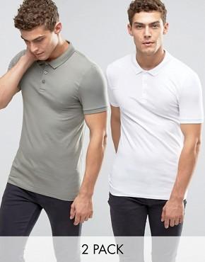 ASOS 2 Pack Extreme Muscle Polo Shirt SAVE 15% In White/Green